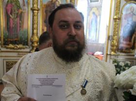 награждение епархиальной медалью третьей степени иеродиакона Антония (Литуновского) на престольный праздник - 24 мая 2020 года